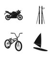 motorcycle mountain skiing biking surfing with vector image