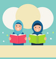 muslim girls wearing hijabs read books vector image