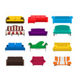 sofa set icon colored collection isolated vector image