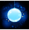 Glow blue Christmas bauble background vector image vector image