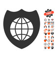 global shield icon with love bonus vector image