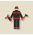 Fireman with extinguisher and axe vector image