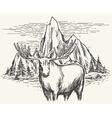 Hand drawn landscape with moose vector image