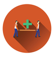 Icon of football medical staff carrying stretcher vector image