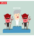 Angel and Devil on winner podium - - EPS10 vector image
