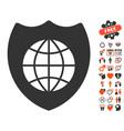 global shield icon with love bonus vector image