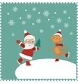 Greeting card with happy Santa and monkey skates vector image