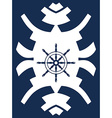 Navy blue and white hipster ornament with rudder vector image