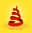 red christmas tree on gold background vector image