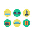 set of colorful interior design color flat vector image