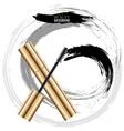 Woman cosmetic brush smears mascara vector image