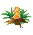 A cat standing on a stump with leaves vector image vector image