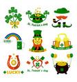 symbols of ireland flag and horseshoe luck vector image