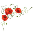 Poppies floral element border vector image