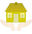 house in the hands vector image vector image