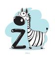 Cartoons Alphabet - Letter Z with funny Zebra vector image