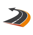 Curved tarred road with an arrow pointer vector image
