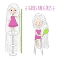 Cute girls with long hair vector image