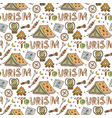 hand drawn sketched pattern with camping elements vector image