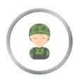 Soldier cartoon icon for web and vector image