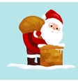 Christmas Santa Claus in red suit with bag full of vector image