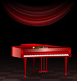 Red piano and dark room vector image