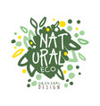 natural eco label logo graphic template hand vector image