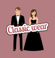 happy couple in dark classic suits vector image