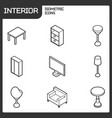 interior outline isometric icons vector image