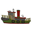 Funny old steam tugboat vector image
