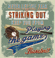 baseball striking out crack paint vector image vector image