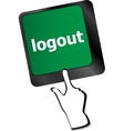 logout word on computer keyboard button vector image vector image