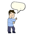cartoon happy man with speech bubble vector image