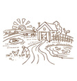 Farm and agriculture vector image