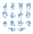 hands fingers signals over white background vector image