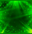 neon background of green with rays of light vector image