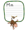 Litle funny monkey on lians Alphabet M vector image