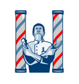 Barber With Pole Hair Clipper and Scissors Retro vector image vector image