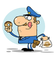 Policeman Eating Donut vector image vector image