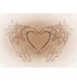Graphic mehndi heart vector image