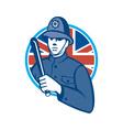 British Bobby Policeman Truncheon Flag vector image