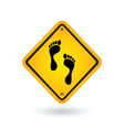 yellow sign with foot vector image vector image