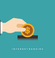 Business man hand holding money coin vector image