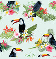 tropical flowers and toucan seamless background vector image