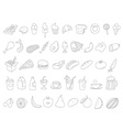Different food doodles Lineart hand-drawn elements vector image