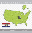 missouri flag and map vector image vector image
