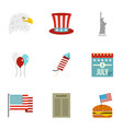 american independence holiday icon set flat style vector image