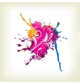 Abstract background with splash and floral vector image vector image
