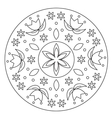 Coloring Simple Flower Mandala vector image