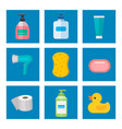 cosmetic bathroom bottles of household chemicals vector image